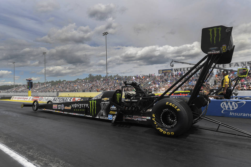 In this photo provided by NHRA, Brittany Force races to the Top Fuel victory Sunday, June 4, 2017, at the annual NHRA New England Nationals at New England Dragway in Epping. N.H. (Marc Gewertz/NHR ...