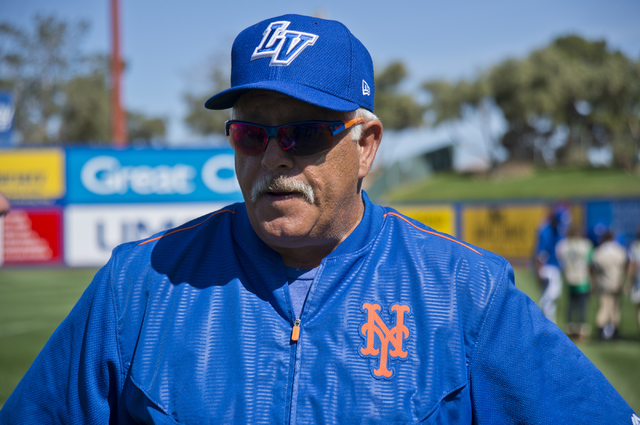 Manager Wally Backman talks with reporters during media day for the Las Vegas 51s at Cashman Field in Las Vegas on Tuesday, April 5, 2016. The event was held ahead of opening Thursday's season ope ...
