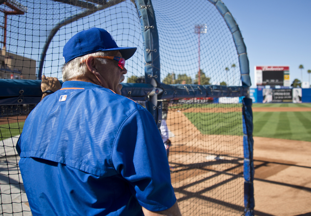 Manager Wally Backman (6) looks out over the field during media day for the Las Vegas 51s at Cashman Field in Las Vegas on Tuesday, April 5, 2016. The event was held ahead of opening Thursday's se ...