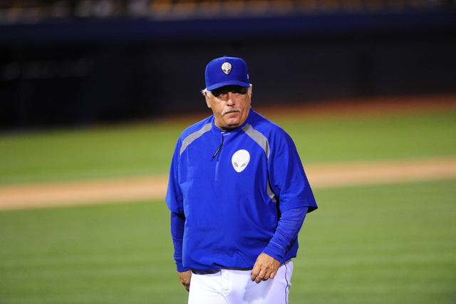 Las Vegas 51s manager Wally Backman walks back to the dugout after making a pitching change during their Triple-A minor league baseball game against the Nashville Sounds at Cashman Field in Las Ve ...
