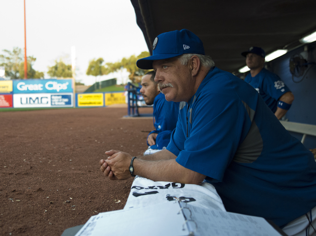 Las Vegas 51s Manager Wally Backman (6) looks out at the field during their game against the Sacramento River Cats at Cashman Field in Las Vegas Thursday, April 14, 2016. Daniel Clark/Las Vegas Re ...