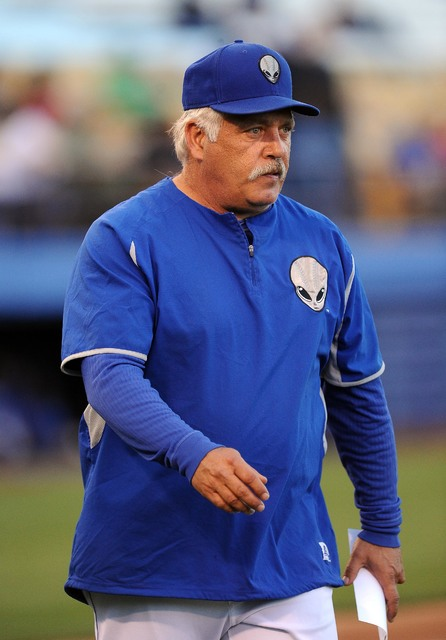Las Vegas 51s manager Wally Backman is seen before the start of their gama against the Oklahoma City Dodgers during their Triple-A minor league baseball game at Cashman Field in Las Vegas Thursday ...