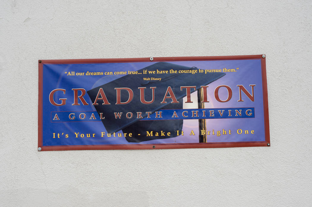 A sign from a previous class is seen at the planned site for CCSD's first recovery high school on Wednesday, May 31, 2017 in Las Vegas. The school is decades old, and hasn't been in active use for ...