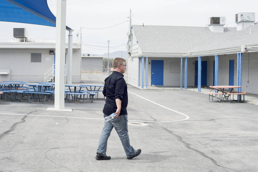 Donn Jersey walks through the planned site for CCSD's first recovery high school on Wednesday, May 31, 2017 in Las Vegas. The high school was approved last week by trustees and will serve as a hig ...