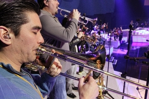 Nathan Tanouye, right, and other members of Celine Dion's orchestra prepare for a sound check at the Colosseum at Caesars Palace.