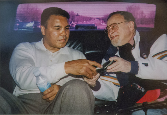Long time sports writer Jerry Izenberg,right, with boxing great Muhammad Ali in 1991. He will be inducted to the international Boxing Hall of Fame on June 12. (Courtesy photo)