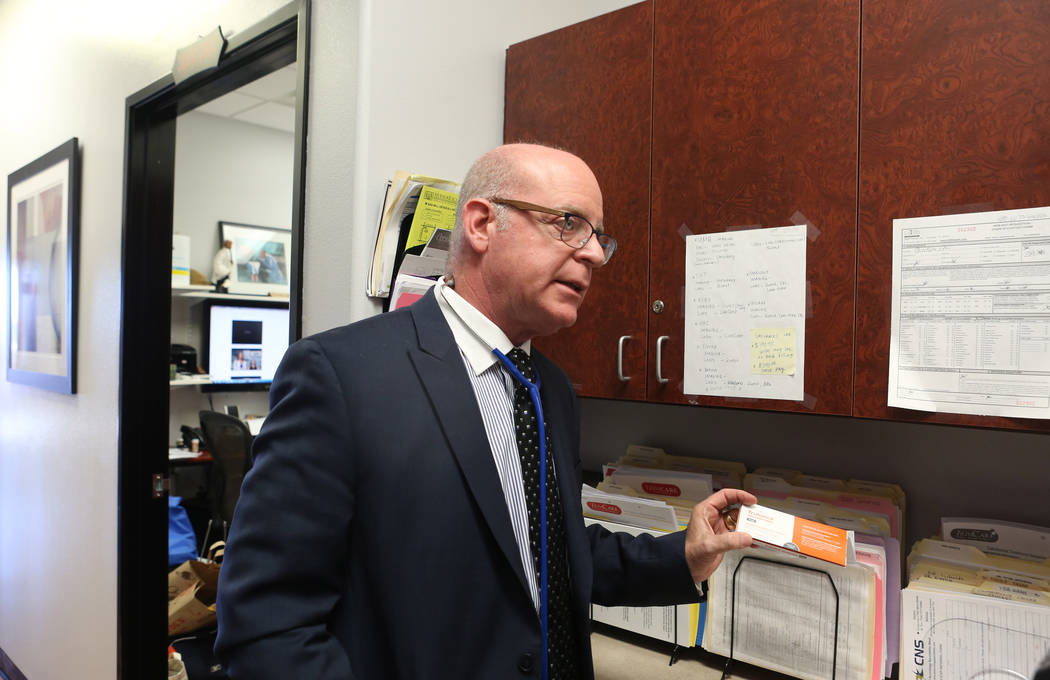 Internist Dr. Ivan Goldsmith learns about a new Synergy Pharmaceuticals product at his Las Vegas office,Thursday, May 31, 2017.  Elizabeth Brumley/Las Vegas Review-Journal