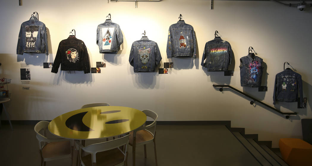 Denim jackets decorated by employees are displayed in the gift shop area at Zappos headquarters in downtown Las Vegas on Thursday, June 1, 2017. Chase Stevens Las Vegas Review-Journal @csstevensphoto
