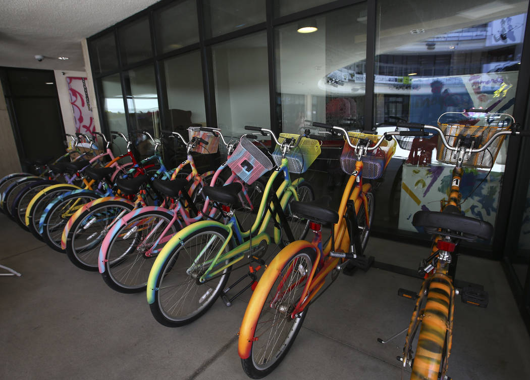 Decorated bikes available for employees at Zappos headquarters in downtown Las Vegas on Thursday, June 1, 2017. Chase Stevens Las Vegas Review-Journal @csstevensphoto