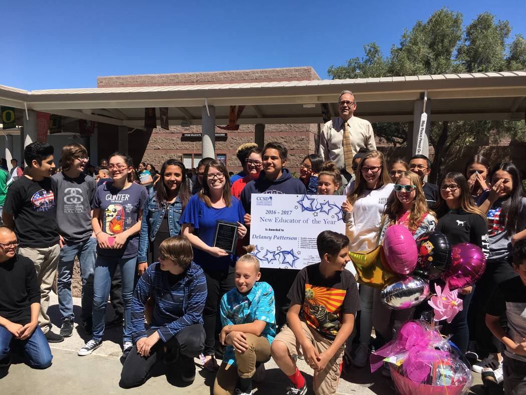 Delaney Patterson takes photo with her intermediate/advanced art class on the day she was awarded New Educator of the Year at Brian and Teri Cram Middle School, 1900 Deer Springs Way. Courtesy of  ...