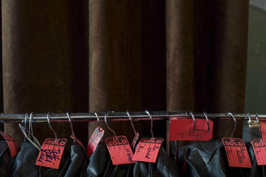 Sold garments sit on a rack in garment bags at Stitched located in Cosmopolitan hotel-casino on Thursday, June 1, 2017 in Las Vegas. Bridget Bennett Las Vegas Review-Journal @bridgetkbennett