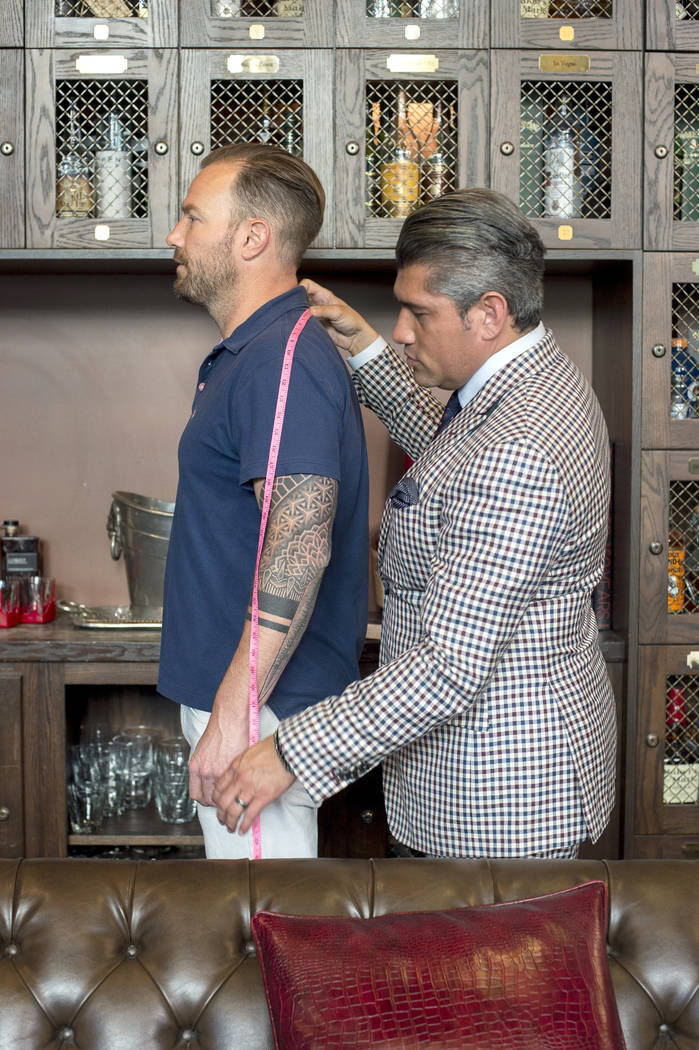 Stitched stylists' first step toward creating a custom suit is to take 35 measurements. Bridget Bennett Las Vegas Review-Journal @bridgetkbennett