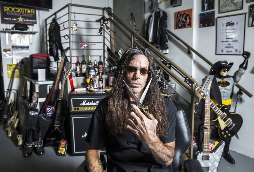 "Barber J.J. Jones' Las Vegas salon is covered with glam rock and hair metal memorabilia. ""I figured since I'm here so much, I'd bring everything from home to work,"" said Jones. & ..."