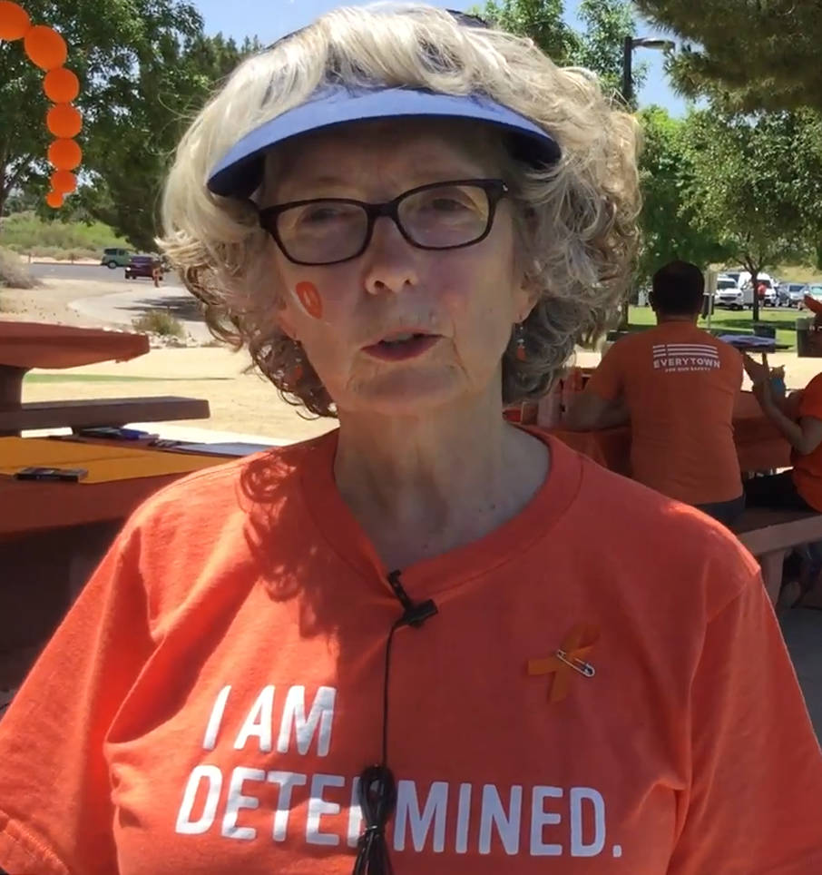 Wendy Starkweather, the leader of the Henderson chapter of Moms Demand Action, discusses Wear Orange Day at Sunset Park in Las Vegas. The event, held on June 3, 2017, was to advocate for gun safet ...