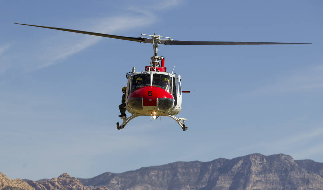 A Metro Search and Rescue helicopter departs from Spring Mountain Ranch State Park in Blue Diamond on Saturday, June 3, 2017. Richard Brian Las Vegas Review-Journal @vegasphotograph