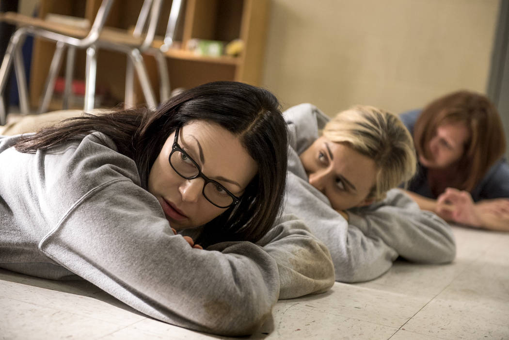 Laura Prepon, left, and Taylor Schilling in Orange Is The New Black Season 5 (Jojo Whilden/Netflix)