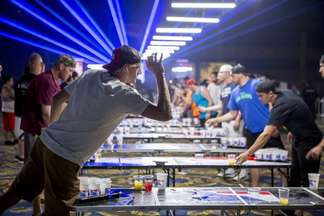 Rob Dix of Arkansas practices during the World Series of Beer Pong at the Westgate Las Vegas on Sunday, June 4, 2017. Patrick Connolly Las Vegas Review-Journal @PConnPie