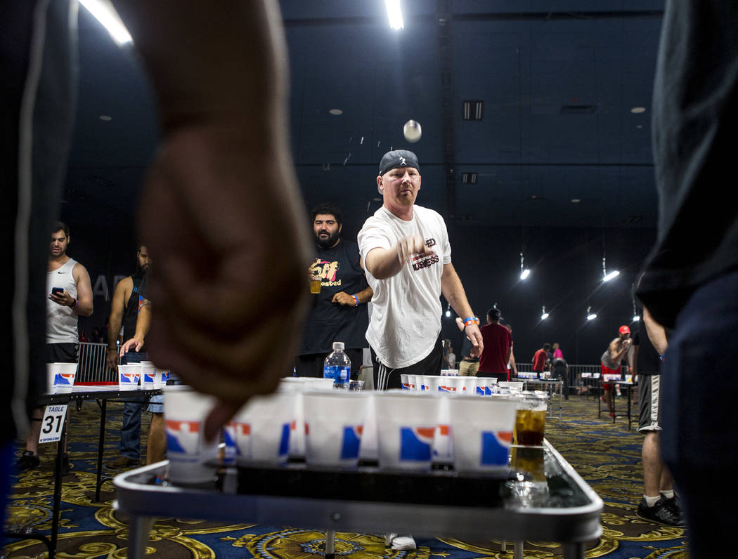 Casey Costa of New Jersey practices during the World Series of Beer Pong at the Westgate Las Vegas on Sunday, June 4, 2017. Patrick Connolly Las Vegas Review-Journal @PConnPie