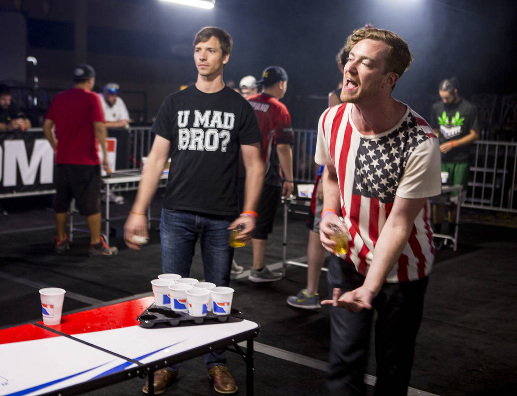 Owen Wendland talks smack during the World Series of Beer Pong at the Westgate Las Vegas on Sunday, June 4, 2017. Patrick Connolly Las Vegas Review-Journal @PConnPie