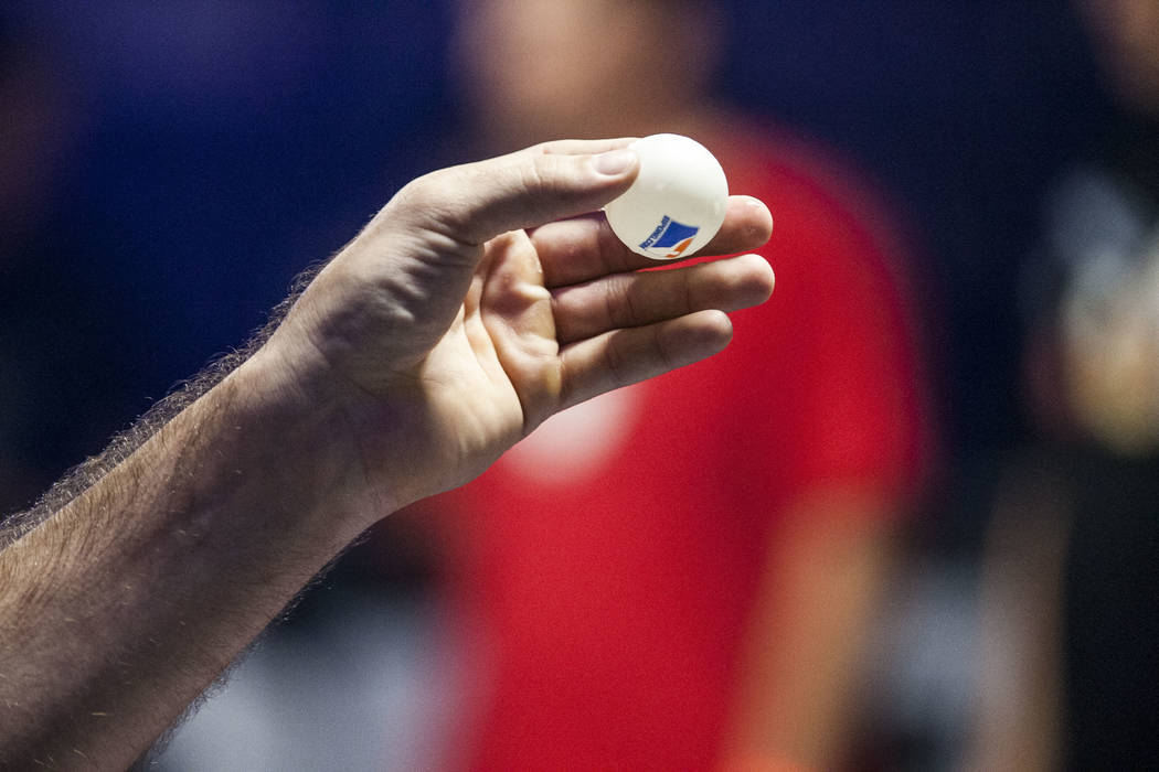 Randy Savage lines up his shot during World Series of Beer Pong at the Westgate Las Vegas on Sunday, June 4, 2017. Patrick Connolly Las Vegas Review-Journal @PConnPie