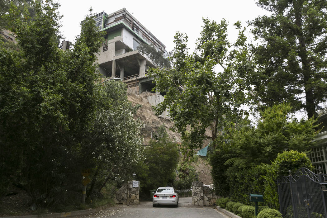 A mansion is seen under construction on Strada Vecchia Road in Los Angeles on Wednesday, May 31, 2017. Mohamed Hadid, a developer of luxury homes, has pleaded no contest in Los Angeles to misdemea ...