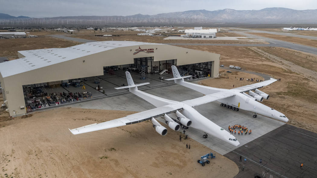 Paul Allen's Stratolaunch airplane emerges from its hangar in Mojave, Calif., on May 31. MUST CREDIT: Courtesy of Stratolaunch Systems Corp..