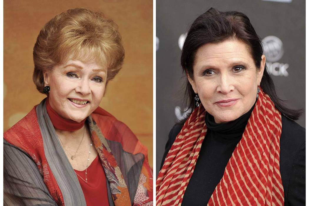 FILE - In this combination photo, actress Debbie Reynolds, left, poses for a portrait in Beverly Hills, Calif., on May 21, 2013  and her daughter  Carrie Fisher appears at the 2011 NewNowNext Awar ...