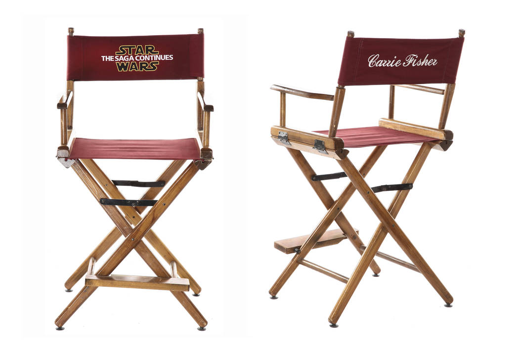 """This combination of photos released by Profiles in History show Carrie Fisher's on-set chair with personalized chair back that is embroidered """"Star Wars: Episode VI - Return of the Jedi."""" The chai ..."""