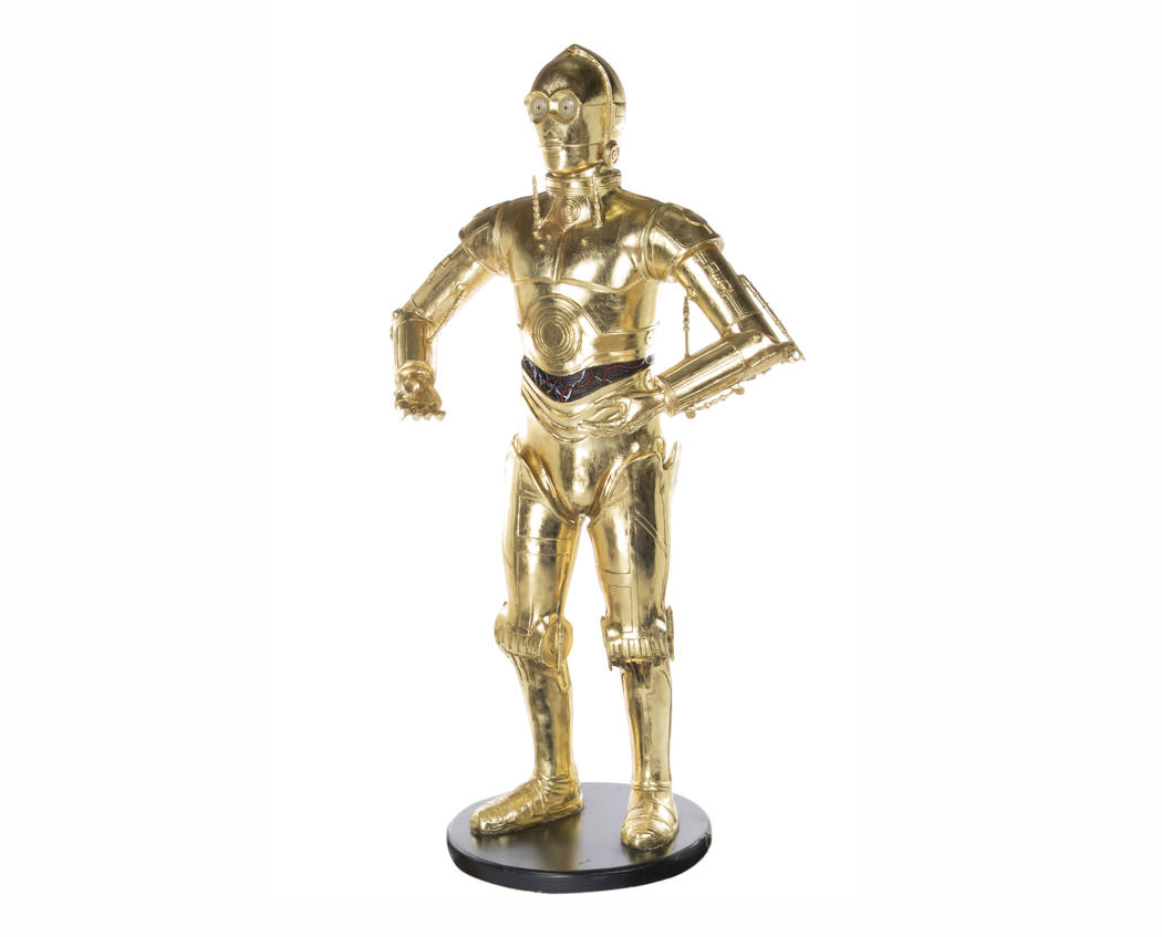 """This image re;eased by Profiles in History shows a life size model of C-3PO, from the """"Star Wars"""" franchise, belonging to the late actress Carrie Fisher. The item is among many belongings of Fishe ..."""