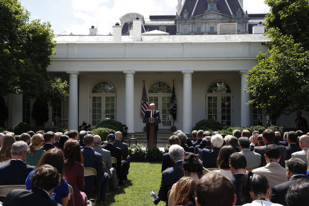 President Donald Trump speaks about the U.S. role in the Paris climate change accord, Thursday, June 1, 2017, in the Rose Garden of the White House in Washington. (Pablo Martinez Monsivais/AP)