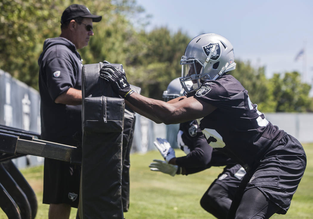 Raider linebackers hit the sleds during rookie minicamp on Friday, May 5, 2017, at Oakland Raiders Headquarters, in Alameda, Calif. Benjamin Hager Las Vegas Review-Journal @benjaminhphoto