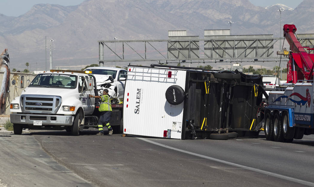 The scene of an accident involving a pickup truck with a fifth-wheel trailer on U.S. Route 95 South near Rancho Drive on Thursday, June 1, 2017. Richard Brian Las Vegas Review-Journal @vegasphotograph