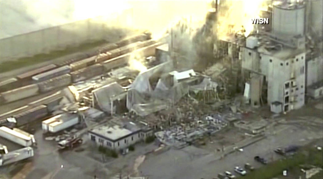 In this image taken from a video by WISN-TV, the rubble of a corn mill plant following an explosion is seen, Thursday, June 1, 2017, in Cambria, Wis. The sheriff in Columbia County said that the b ...