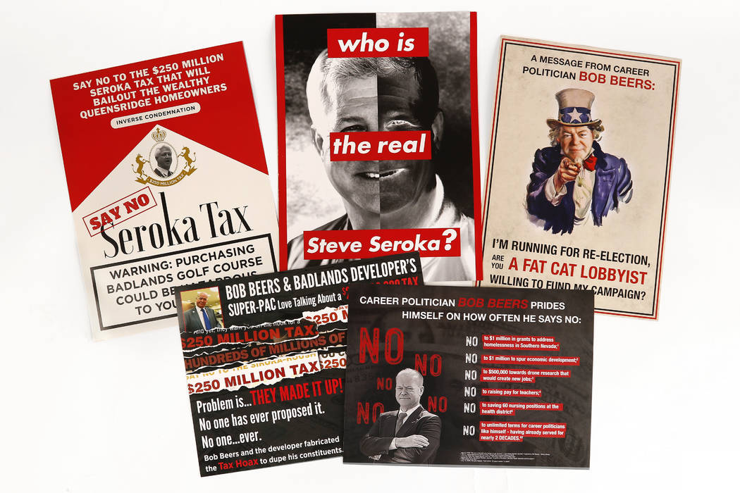 Campaign mailers featuring Las Vegas City Council Ward 2 candidates Bob Beers and Steve Seroka. David Guzman Las Vegas Review-Journal
