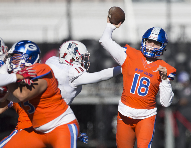 Bishop Gorman's Tate Martell (18) makes a pass for a catch against Liberty in the Class 4A state football championship game at Sam Boyd Stadium on Saturday, Dec. 3, 2016, in Las Vegas. Bishop Gorm ...