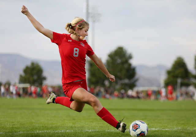Arbor View's Hannah Ferrara (8) kicks the ball against Palo Verde at the Bettye Wilson Soccer Complex during the Class 4A girls state soccer championship, Saturday, Nov. 12, 2016, in Las Vegas. Ar ...
