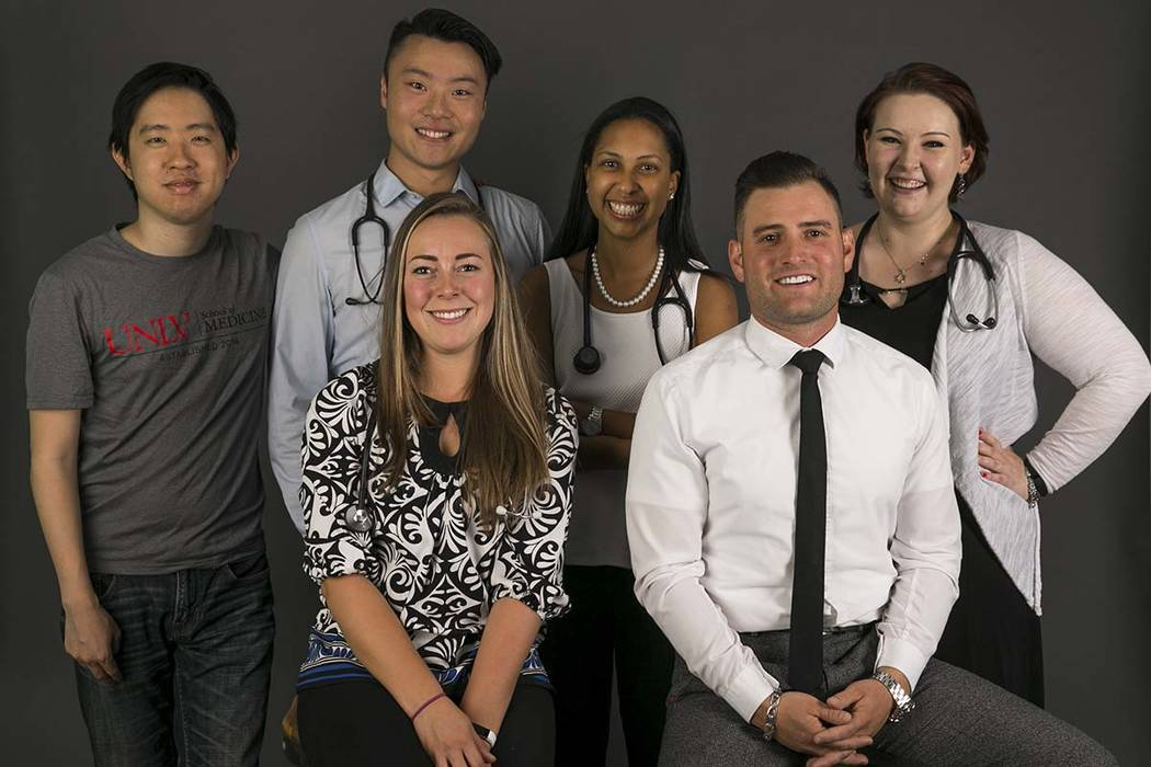 UNLV medical students Alex Ma, 28, left, Alexander Lin, 23, Liz Groesbeck, 24, Lauren Hollifield, 26, Austin Pomerantz, 24, and Sarah Grimley, 22, in the Review-Journal photo studio in Las Vegas o ...