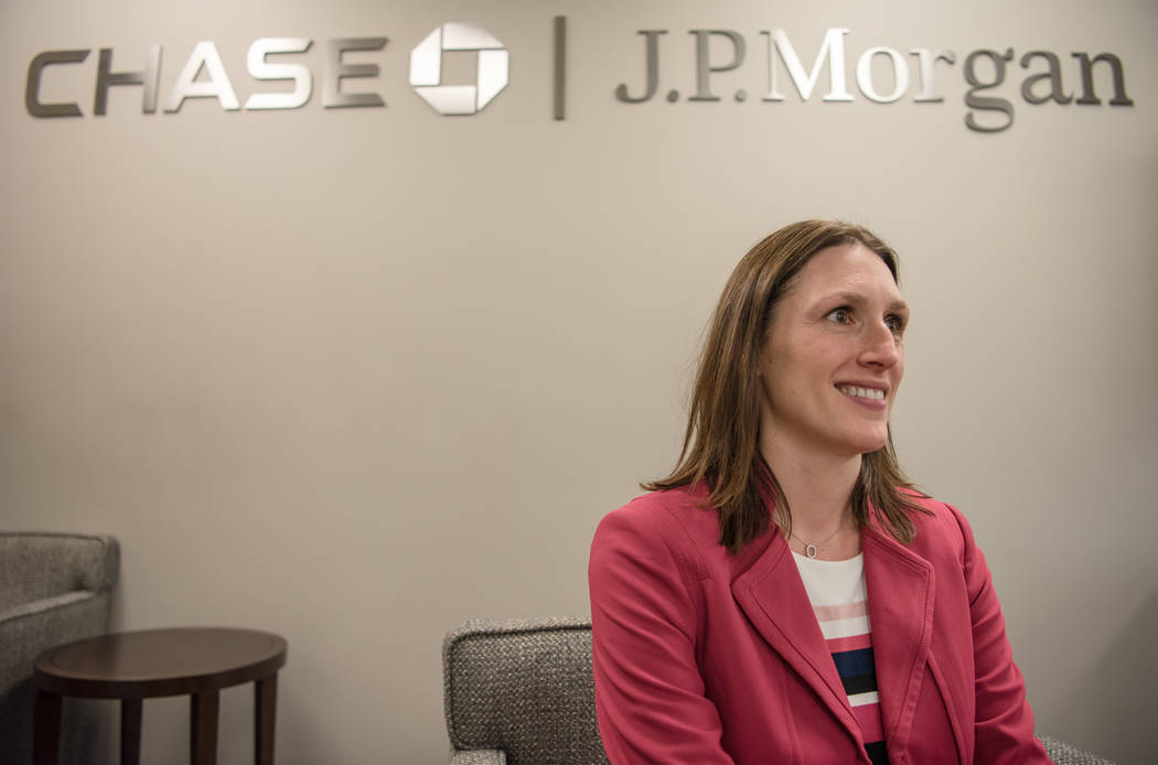 "JPMorgan Chase  ""Middle Market"" Executive Director and Market Executive Megan Ackaert, sits for a portrait in the first Las Vegas office for JPMorgan Chase commerical banking on  ..."