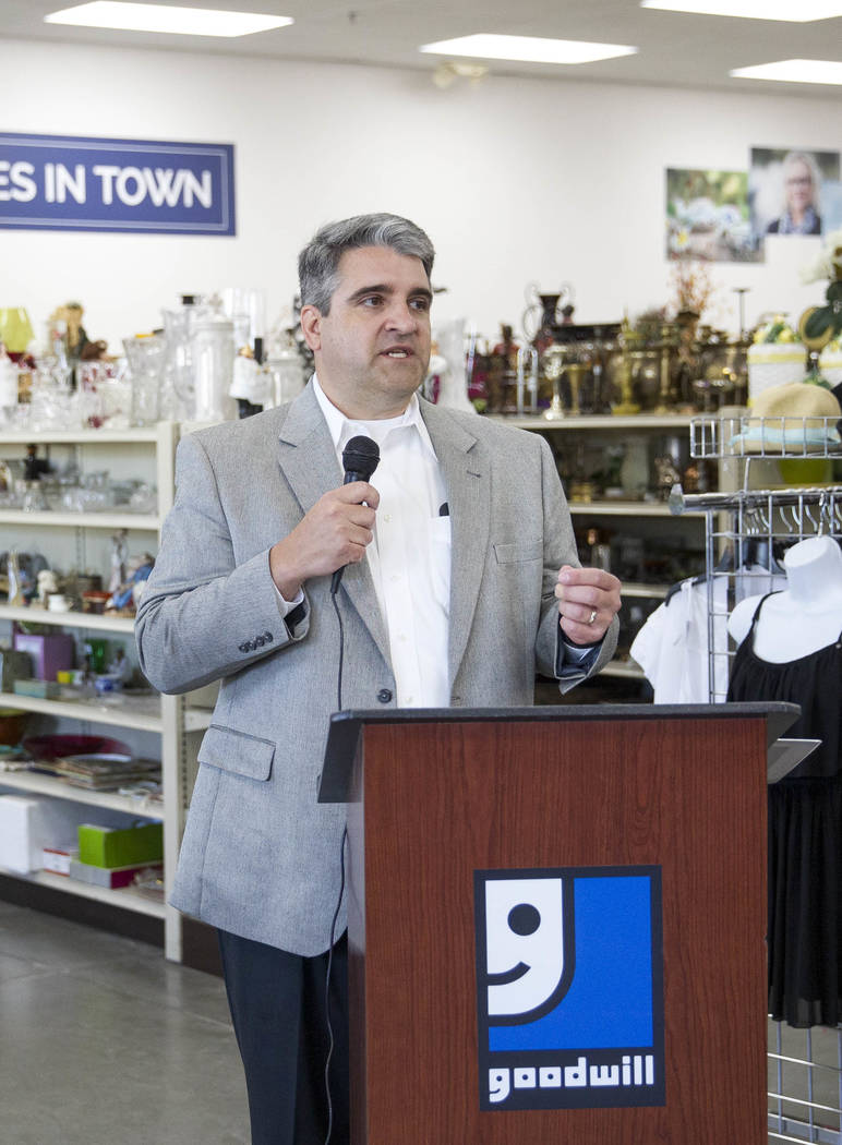 Interim Goodwill of Southern Nevada CEO John Helderman speaks to staff at a reopening event for the Goodwill store located at 9230 South Eastern Ave. in Las Vegas on Friday, June 2, 2017. Richard  ...