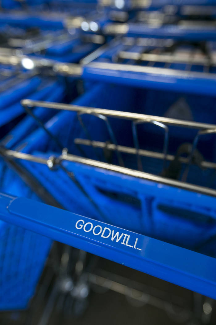 Shopping carts at the Goodwill store located at 9230 South Eastern Ave. in Las Vegas on Friday, June 2, 2017. Richard Brian Las Vegas Review-Journal @vegasphotograph