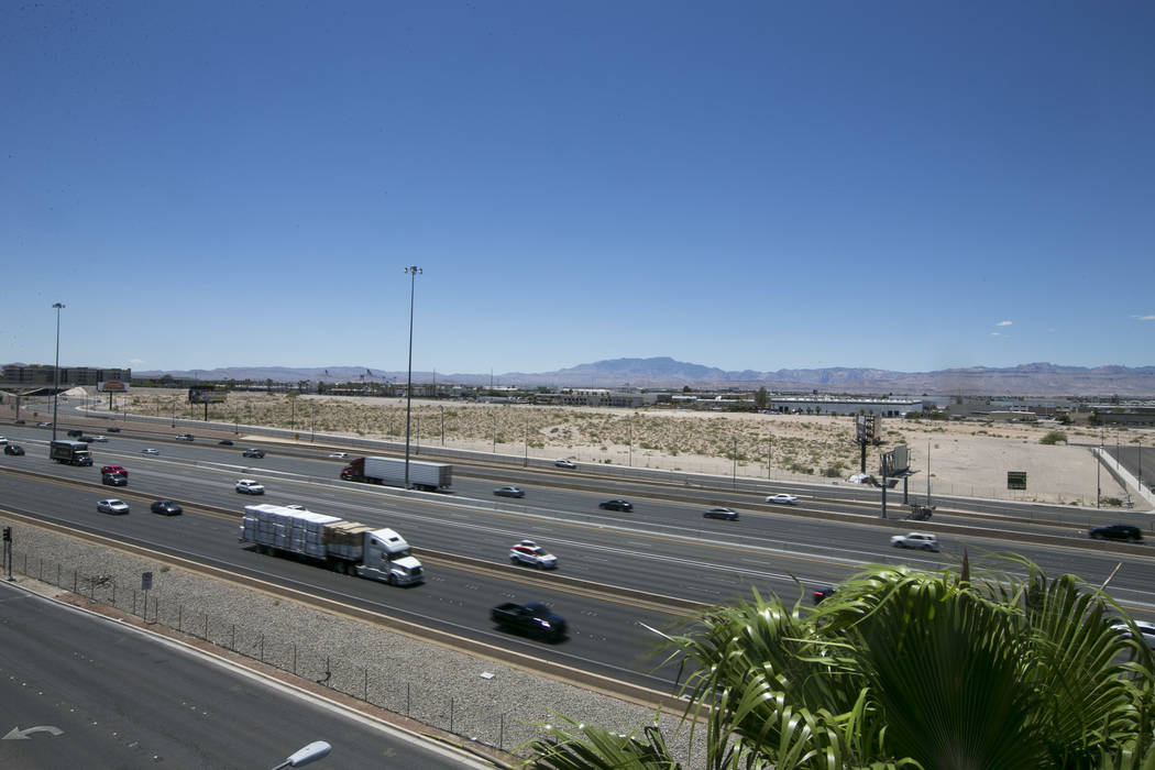 The site of the proposed Raiders stadium near Russell Road and Dean Martin Drive seen from the Mandalay Bay parking garage on Sunday, May 28, 2017. Richard Brian Las Vegas Review-Journal @vegaspho ...