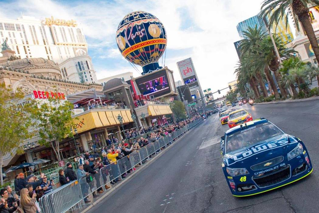 The 2016 NASCAR Champions Week Victory Lap on Thursday, Dec. 1, 2016, on the Las Vegas Strip. (Tom Donoghue)