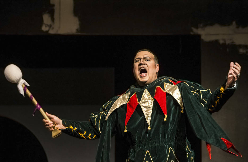 "Michael Chioldi works through a scene during rehearsal for ""Rigoletto"" at Judy Bayley Theatre on Monday, June 5, 2017, at UNLV, in Las Vegas. Benjamin Hager Las Vegas Review-Jour ..."