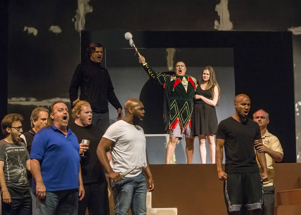 """Michael Chioldi, top/middle, works through a scene during rehearsal for """"Rigoletto"""" at Judy Bayley Theatre on Monday, June 5, 2017, at UNLV, in Las Vegas. Benjamin Hager Las Vega ..."""