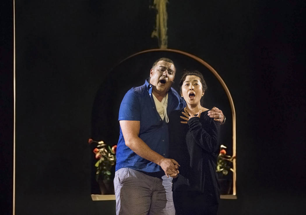 "Michael Chioldi, left, works through a scene during rehearsal for ""Rigoletto"" at Judy Bayley Theatre on Monday, June 5, 2017, at UNLV, in Las Vegas. Benjamin Hager Las Vegas Revi ..."