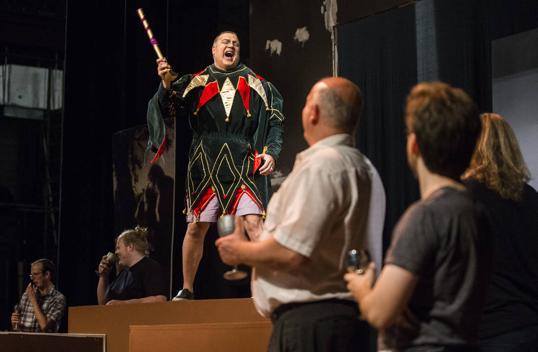 """Michael Chioldi, left, works through a scene during rehearsal for """"Rigoletto"""" at Judy Bayley Theatre on Monday, June 5, 2017, at UNLV, in Las Vegas. Benjamin Hager Las Vegas Revi ..."""
