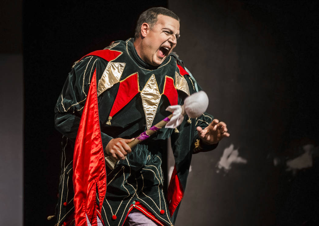 """Michael Chioldi works through a scene during rehearsal for """"Rigoletto"""" at Judy Bayley Theatre on Monday, June 5, 2017, at UNLV, in Las Vegas. Benjamin Hager Las Vegas Review-Jour ..."""
