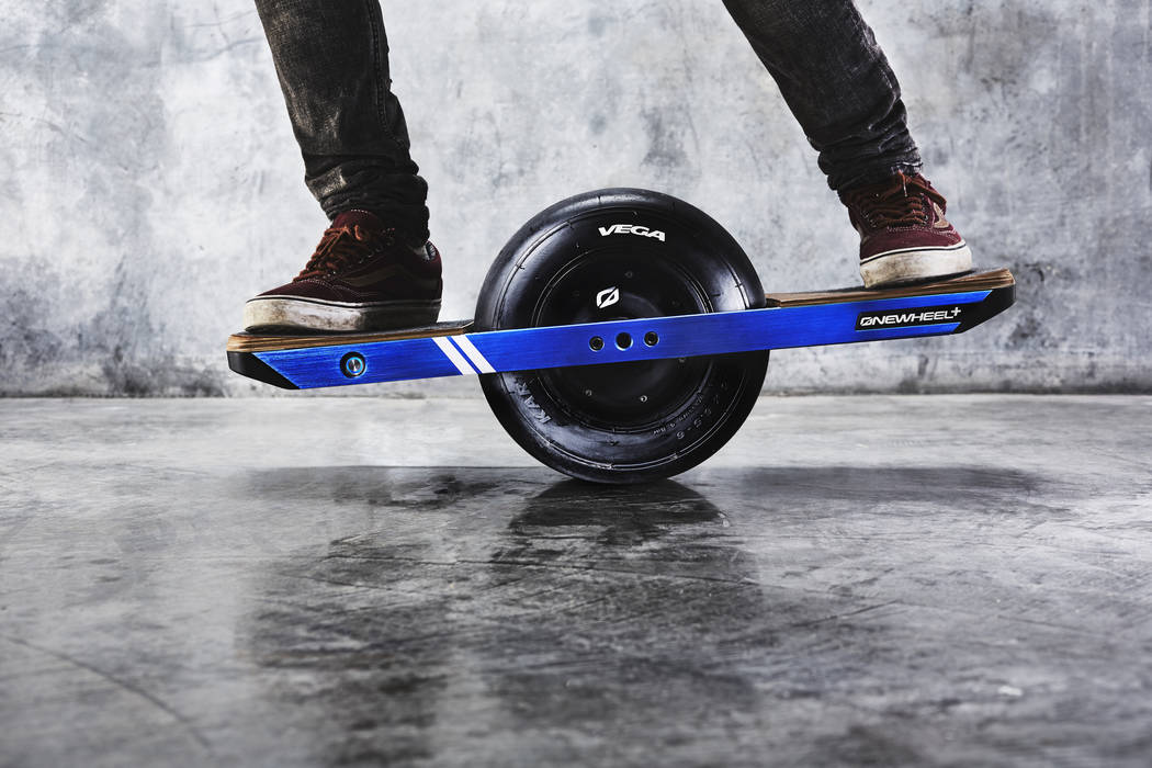 The Onewheel, which visitors to Lee Canyon can ride in and around the lodge area when its spring season opens on Friday. (Onewheel)