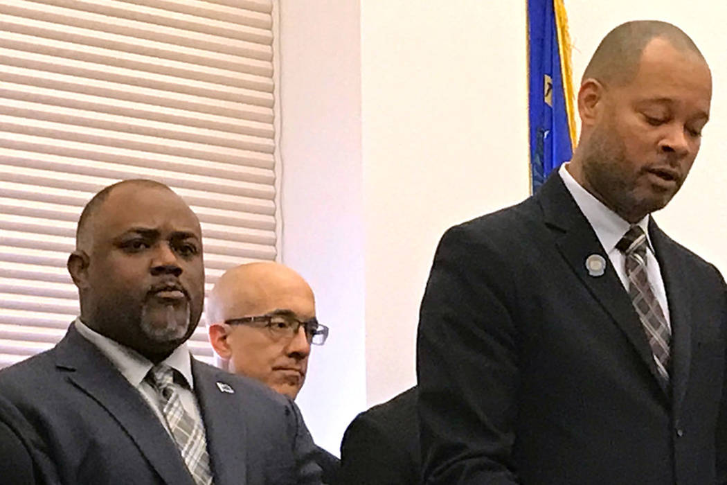 Assembly speaker Jason Frierson, left, and Senate Majority Leader Aaron Ford, talk about Democratic priorities for the 2017 legislative session at a news conference Thursday, Feb. 16, 2017 in Cars ...