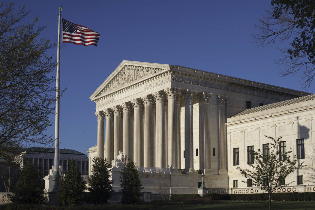 In this photo taken April 4, 2017, the Supreme Court Building is seen in Washington. The Trump administration has asked U.S. Supreme Court to revive Trump's ban on travelers from six Muslim-majori ...